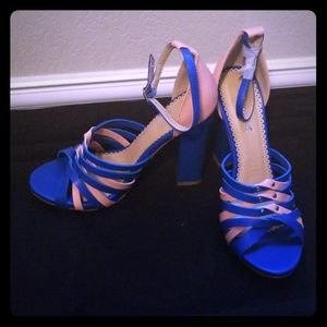 Alba Soft Pink & Blue Opened Toed Heel/Sandal